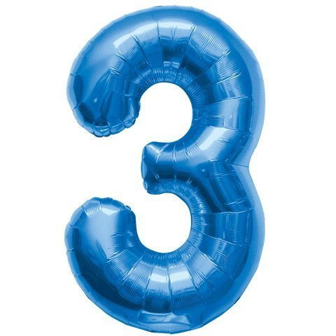 Number 3 - Blue Helium Foil Balloon - 34 inch