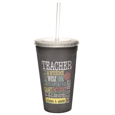 Awesome Teacher Double Walled Cool Travel Cup With Reusable Straw  16 Ounce   Teacher Appreciation Week Thank You Gift   Tree Free Greetings 98220