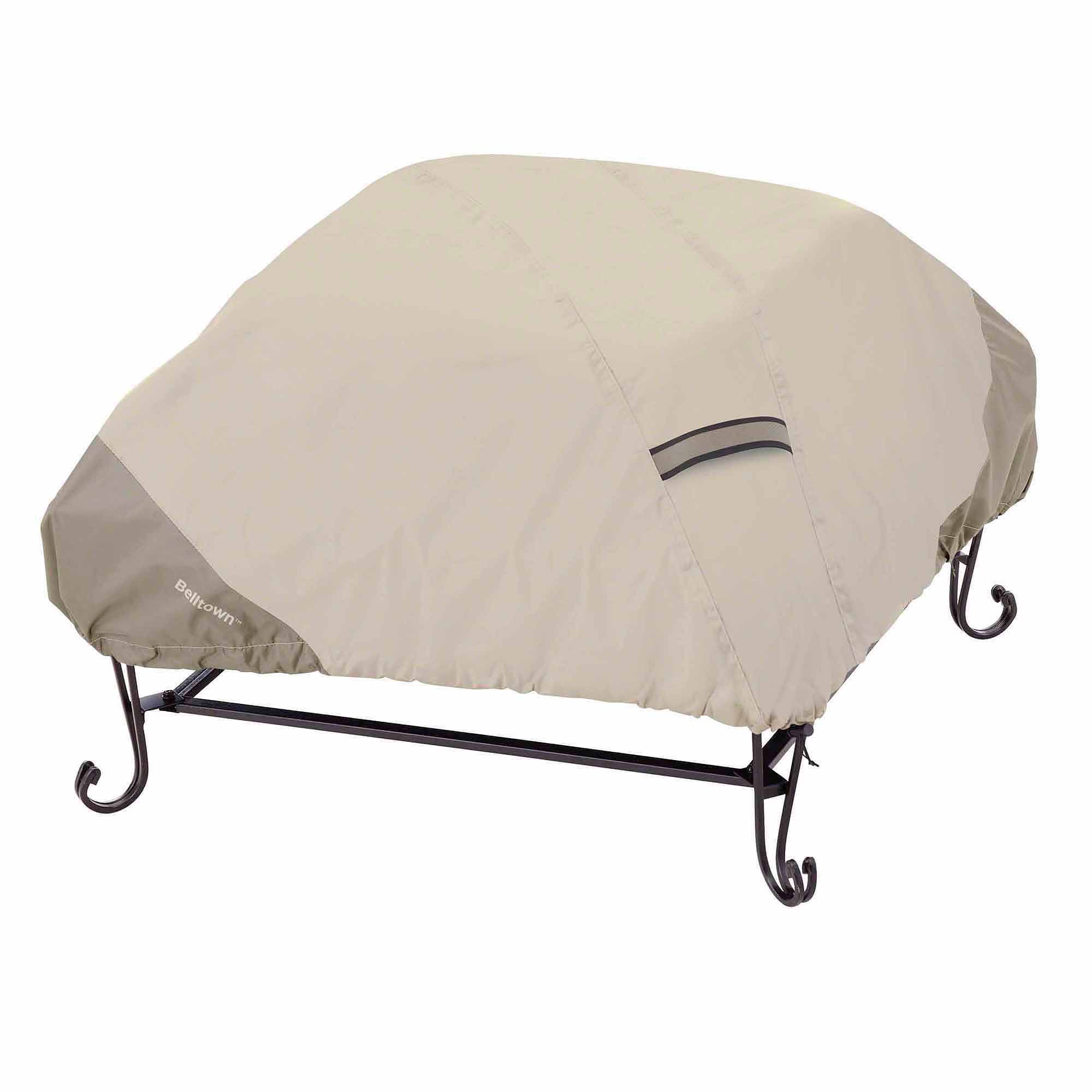 Classic Accessories Belltown Fire Pit Patio Storage Cover, Square, Sidewalk  Grey
