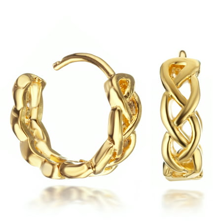 - Women's 18K Gold Filled Knot Infinity Hoop Huggie Earrings for Women Gift Idea Gm074 , Color: Yellow Gold