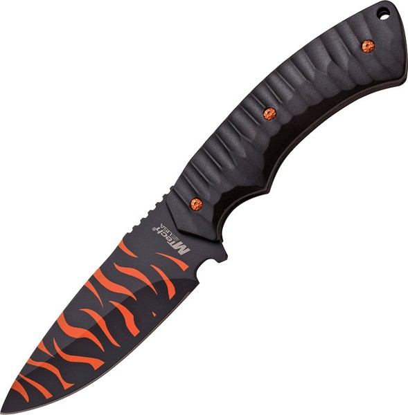 "M-Tech 20-64BO Fixed Knife Black/Orange Camo 4.25"" Drop Blade/Blk Nylon Handle"
