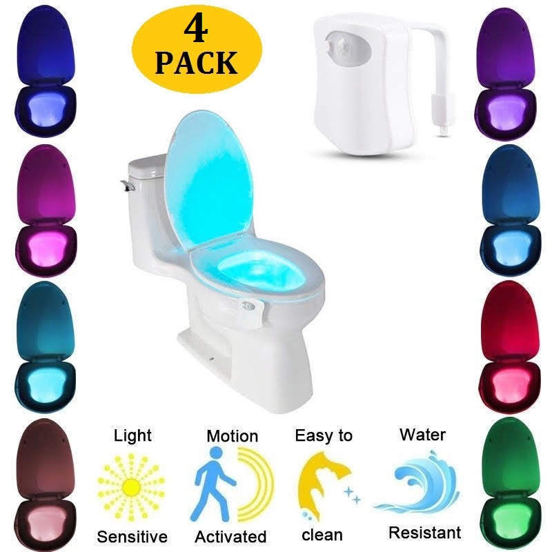 4pc/Set Motion Activated LED Light,8 Colors Changing Toilet Bowl Nightlight for Bathroom Perfect Decorating Combination with Water Faucet Light