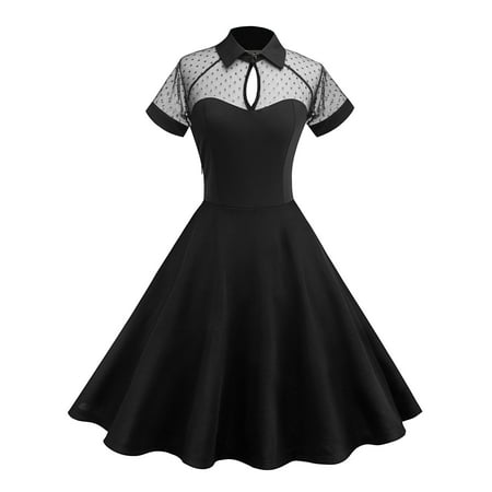 Women Vintage 50 60s Rockabilly Pinup Housewife Party Retro See-through Mesh Swing Dress - 60s Attire