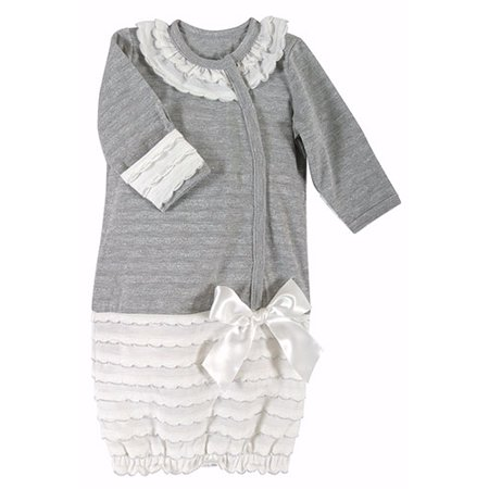 Shimmer Gown-Gray w/Cream Ruffle & Silver Accents (0-6 Mo)