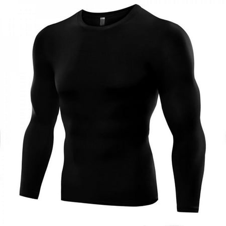 1PC Mens Compression Under Base Layer Top Long Sleeve Tights Sports Running T-shirts Black XXXL thumbnail