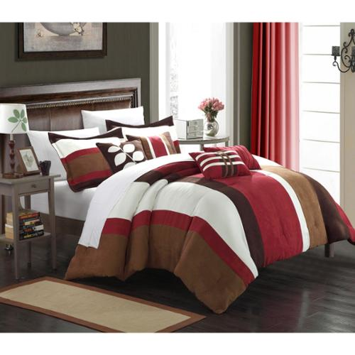 Chic Home Valley 11-piece BurgundyPlush Microsuede Striped Comforter Bed-in-a-Bag Queen