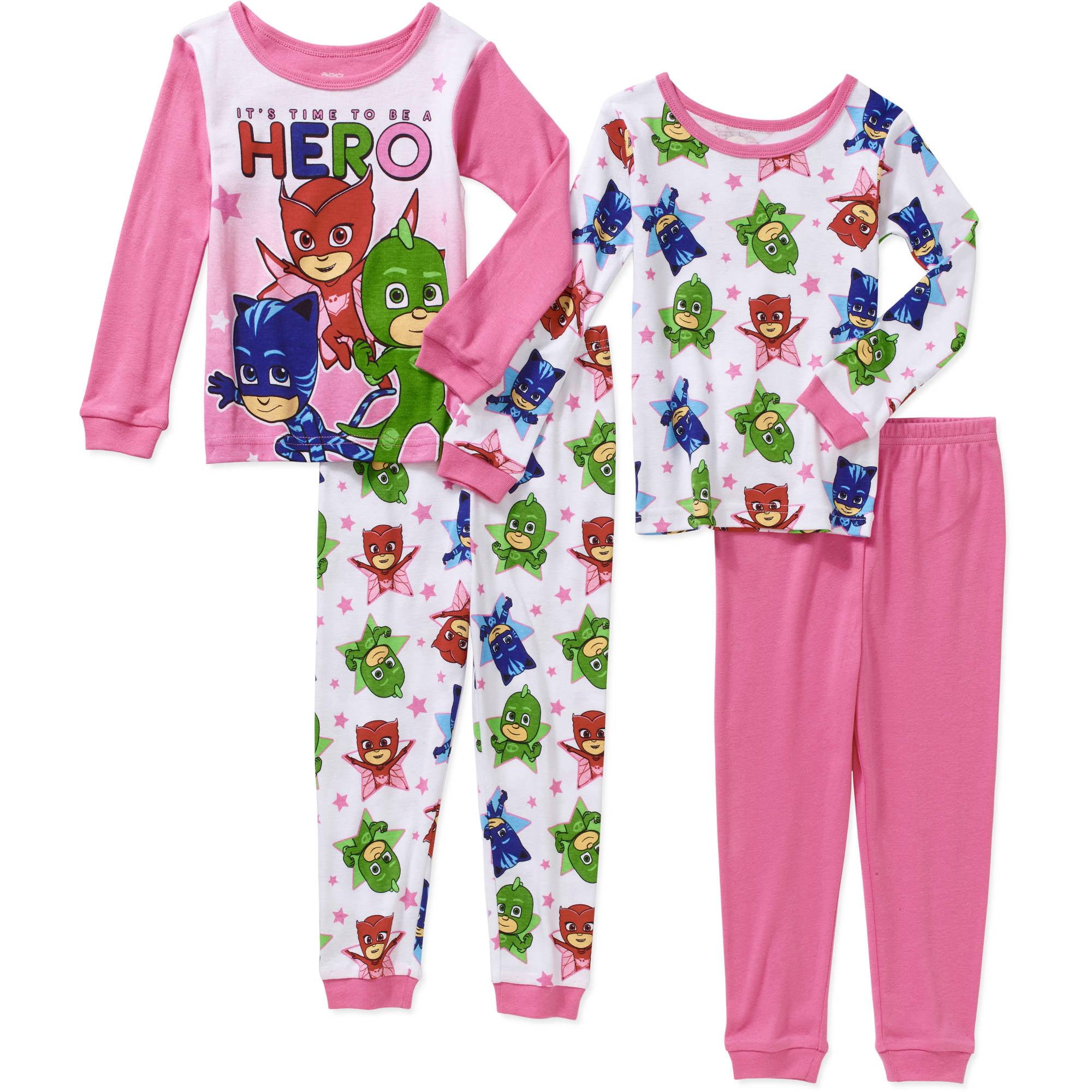 PJ Masks Toddler Girl Cotton Tight Fit Pajamas 4pc Set - Walmart.com