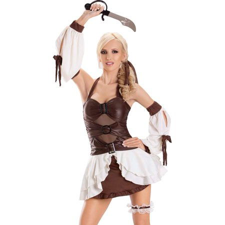 Escante Sexy Brown Pirate Wench Dress Womens Halloween Costume