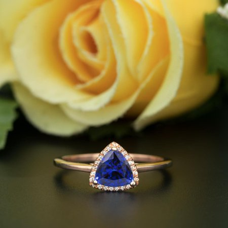 - Art Deco 1.25 Carat Trillion Cut Real Sapphire and Diamond Engagement Ring in 18k Gold Over Silver