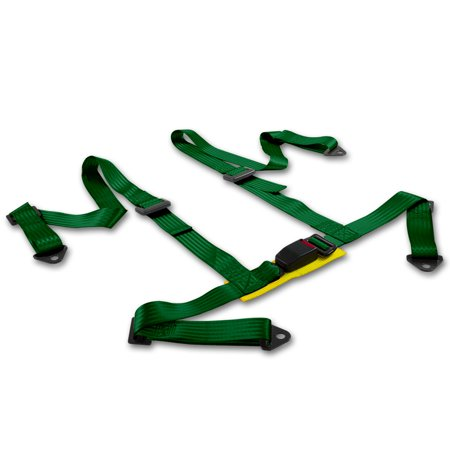 Universal Green Nylon 4-Point Racing Seat Belt Harness & Buckle (Pack of 1)