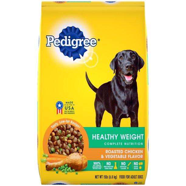 Pedigree Healthy Weight Adult Dry Dog Food Roasted Chicken Vegetable Flavor 15 Lb Bag Walmart Com Walmart Com