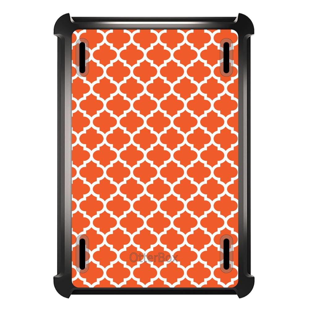 CUSTOM Black OtterBox Defender Series Case for Apple iPad Mini 1 / 2 / 3 - Orange White Moroccan Lattice