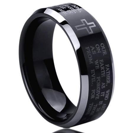 Stainless Steel 8mm Wedding Band Ring Lord's Prayer Engraved Cross Praying Black Ring (6 to 14)](Wedding Unity Cross)