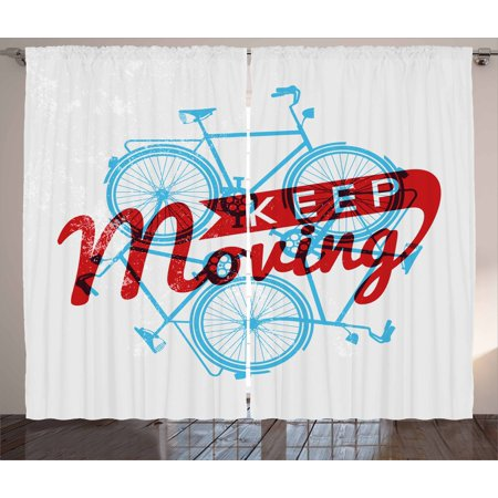 retro curtains 2 panels set keep it moving motivational phrase hipster lifestyle bicycle grunge display - Retro Curtains