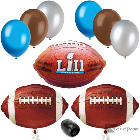 2018 Super Bowl Lii 52 Decor Party Supply 10Pc Balloon Pack  Blue Silver Brown
