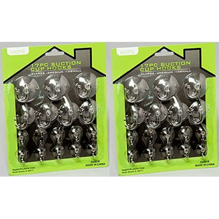 Suction Cup Hooks (34 Pieces) Clear Silicon with Metal and Plastic Hooks by Regent Products Corp