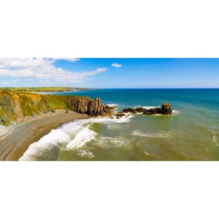 Cliffs On The Beach Trawnamoe Beach Copper Coast Geopark Bunmahon County Waterford Republic Of Ireland Canvas Art   Panoramic Images  36 X 12