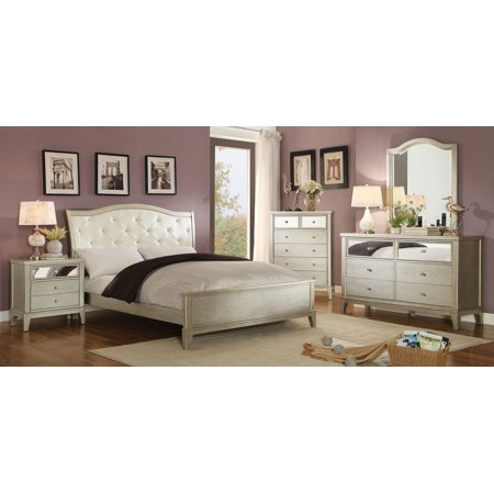 Contemporary bedroom furniture tufted leatherette silver - King size bedroom set with mirror headboard ...