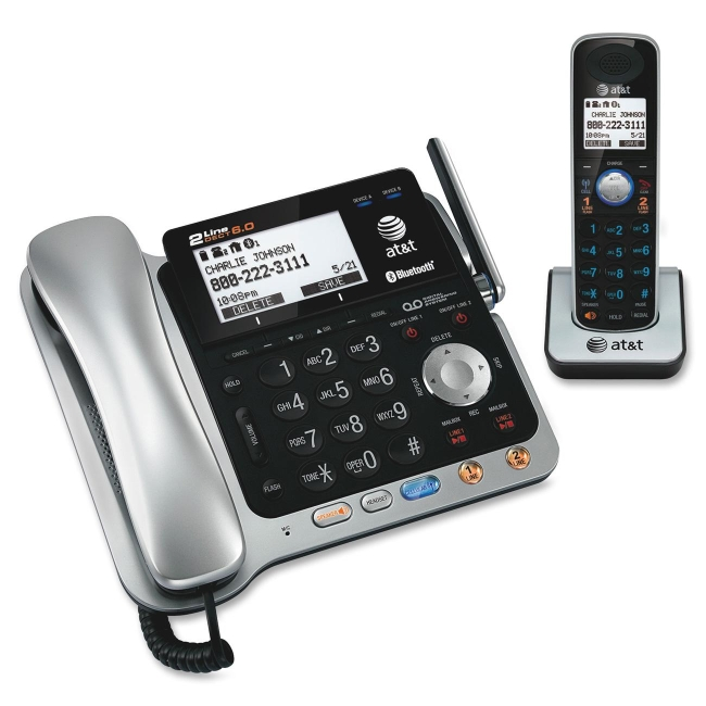 AT&T TL86109 DECT 6.0 Digital 2-Line Corded/Cordless Answering System