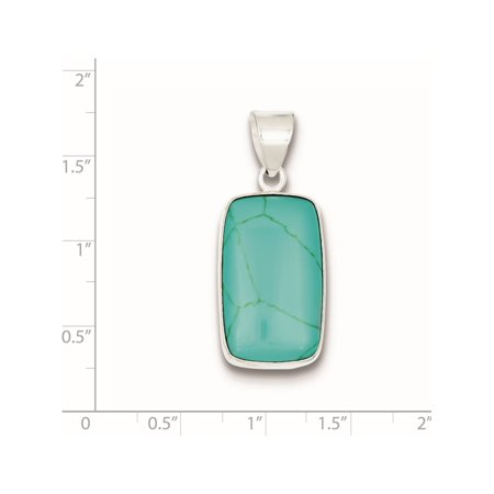 925 Sterling Silver Rectangle Turquoise (16x40mm) Pendant / Charm - image 2 of 2