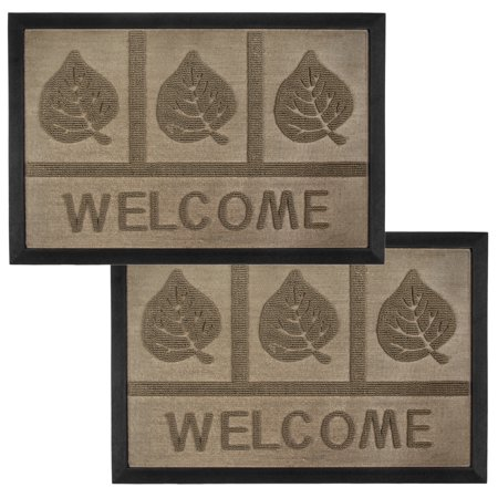 2 Entrance (Set of 2 Tan Leaves Outdoor Welcome Mats Front Door Entrance Way Doormat Non-Slip Rubber)