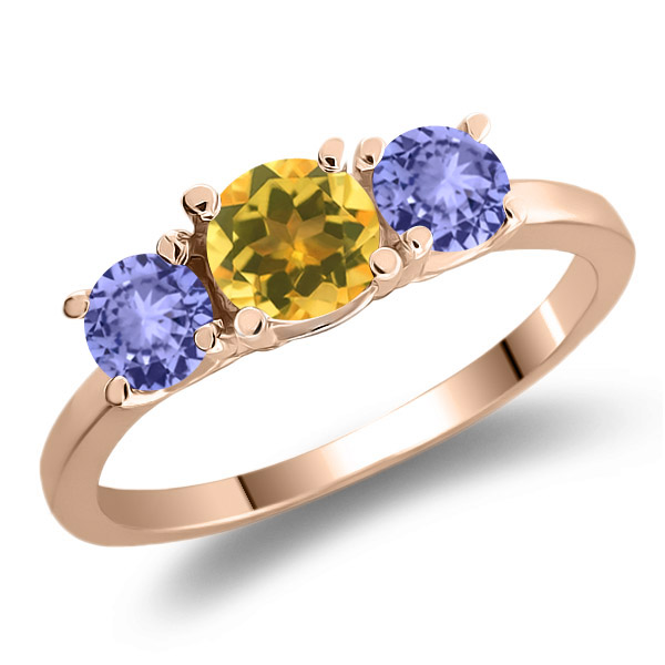 1.05 Ct Round Yellow Citrine Blue Tanzanite 925 Rose Gold Plated Silver Ring