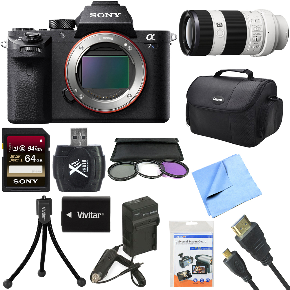 Sony a7S II Full-frame Mirrorless Interchangeable Lens Camera 70-200mm Lens Bundle includes a7S II Body, 70-200mm Full Frame Lens, 72mm Filter Kit, 64GB Memory Card, Bag, Beach Camera Cloth and More