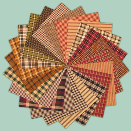 40 Primitive Homespun 5 Inch Quilt Squares By Jubilee Creative Studio