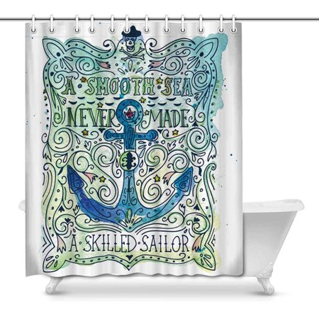 MKHERT Vintage Anchor Crossbones A Smooth Sea Never Made A Skilled Home Decor Waterproof Polyester Fabric Shower Curtain Bathroom Sets Hooks 66x72 (Crossbones Set)