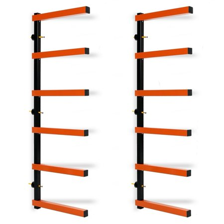 6 Shelf Lumber Storage Rack Steel Wall-Mounted Indoor/Outdoor 600 lb Max Duty Industrial Steel Shelving