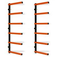 6 Shelf Lumber Storage Rack Steel Wall-Mounted Indoor/Outdoor 600 lb Max