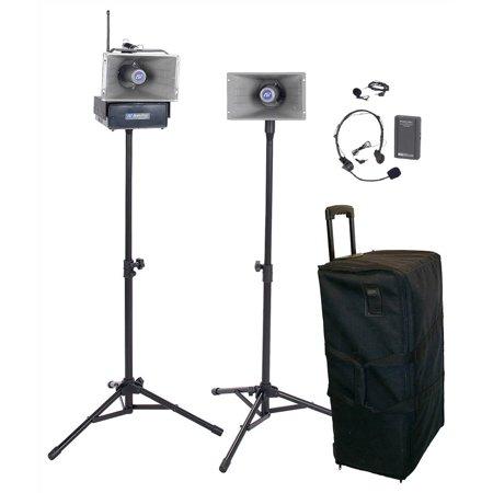 Wireless Half-Mile Hailer-2 Horn Speakers, Tripods, Wheeled Case