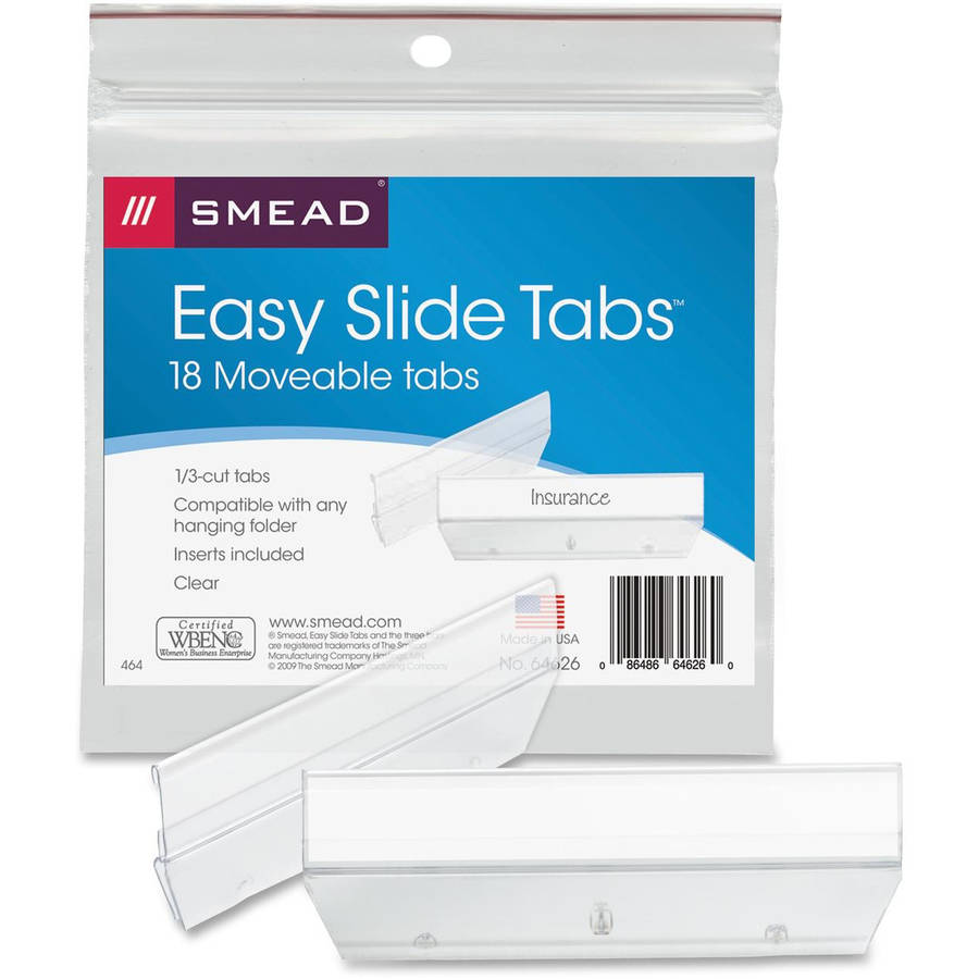 Smead Easy Slide Heavy-Duty Plastic Tabs