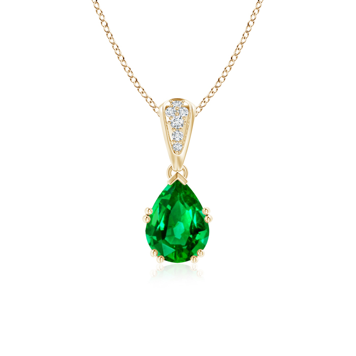Angara Pear Shaped Emerald Necklace in White Gold ovdSQtOi