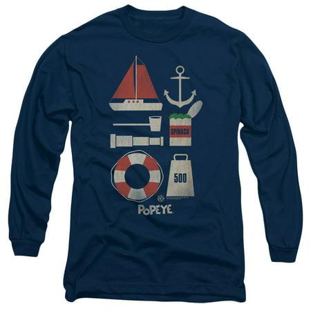 Popeye Items Mens Long Sleeve Shirt