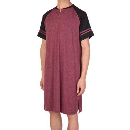 Big And Tall Cotton Henley (Men's Nightshirt Nightwear Comfy Cotton Nightshirts Big&Tall Short Sleeve Henley Sleep Shirt )