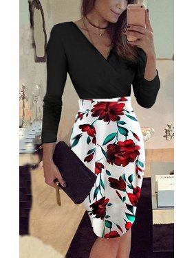 f210bea811f Product Image Womens Long-sleeved V-collar Printed Wave Point Casual  Stitching Slim Dress Office Uniform