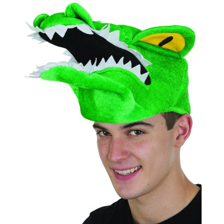 Adults Fiery Eyed Green Florida Gator Alligator Swamp Animal Hat - Alligator Costumes For Adults
