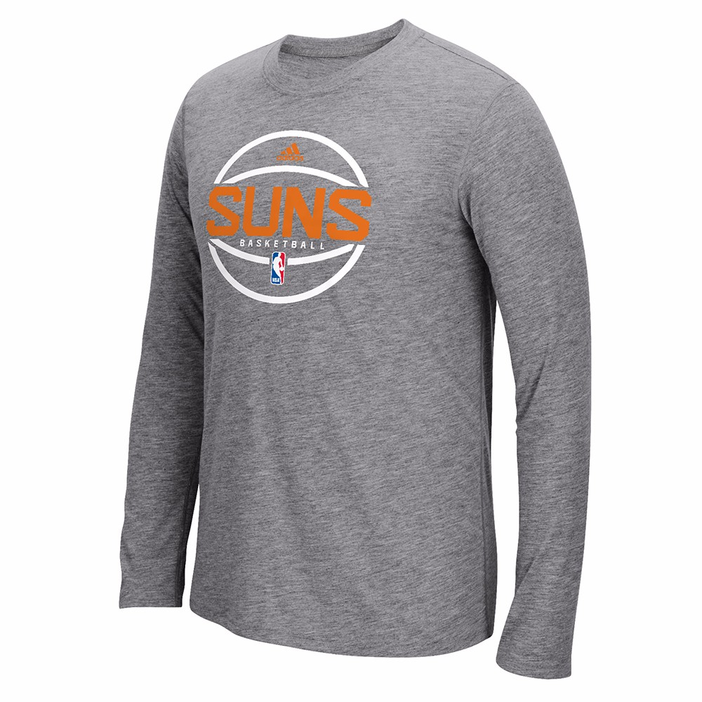 """Phoenix Suns NBA Adidas Grey """"Pre-Game Graphic"""" Climalite Performance Long Sleeve Ultimate T-Shirt For Men"""