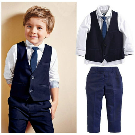 4pcs Kids Baby Boys Waistcoat+Tie+Shirt+Pants Outfit Clothes Gentleman Suit Set - Kids Slim Fit Suits
