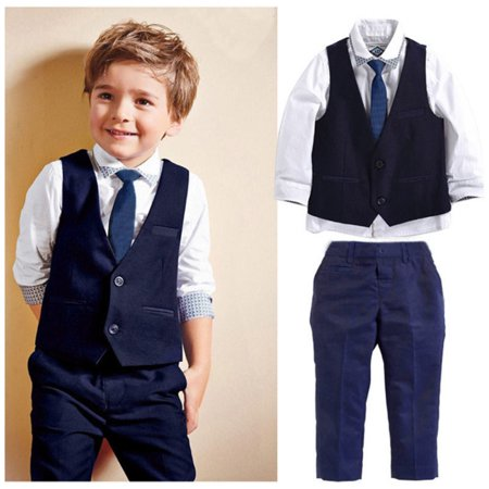 4pcs Kids Baby Boys Waistcoat+Tie+Shirt+Pants Outfit Clothes Gentleman Suit Set - Baby In Led Suit
