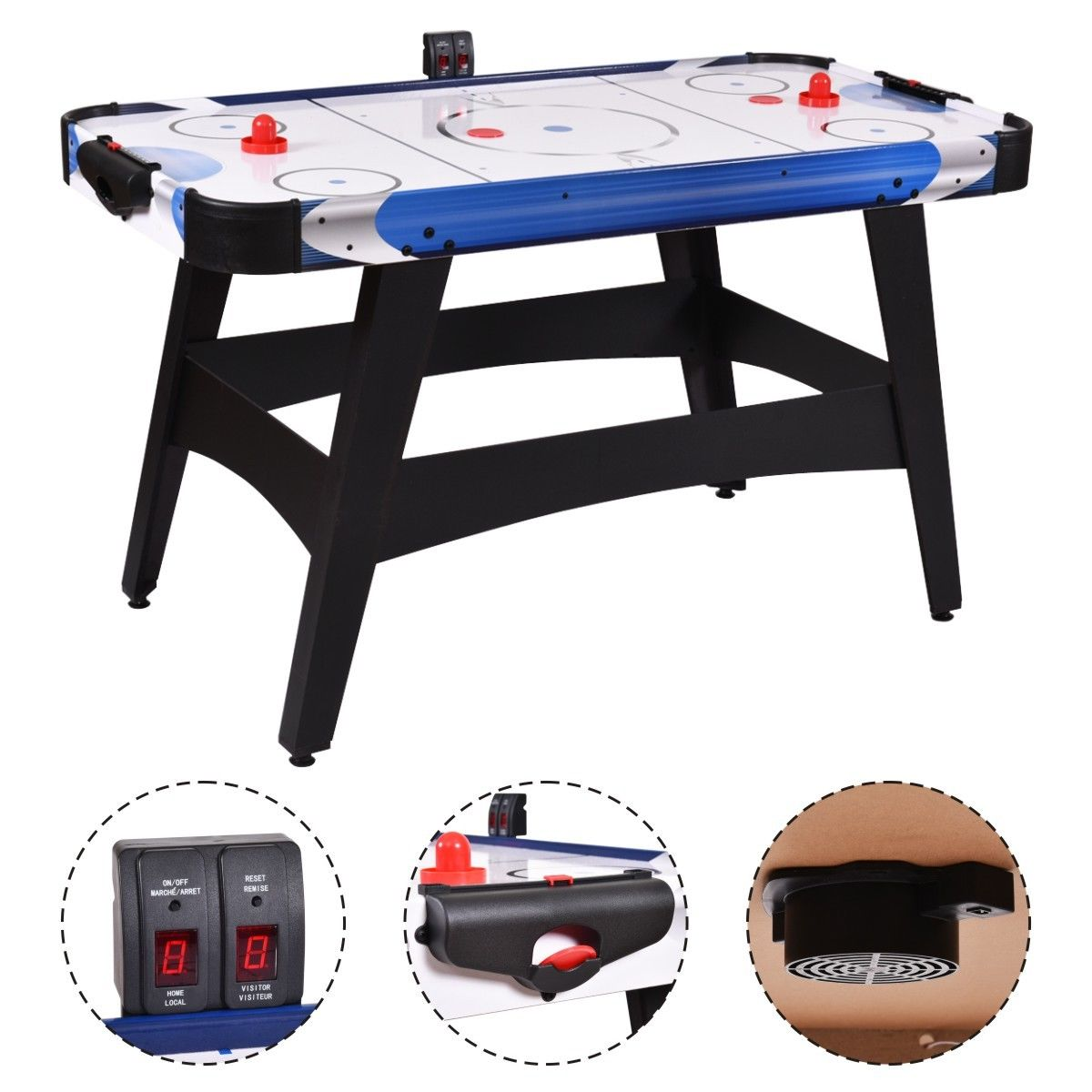 Costway 54'' Air Powered Hockey Table Indoor Sports Game Room Electronic Scoring For Kids