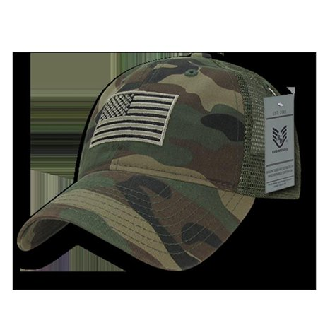 Relaxed Trucker USA Tonal Flag Cap, Woodland Camouflage Baseball Caps Woodland Camouflage Cap