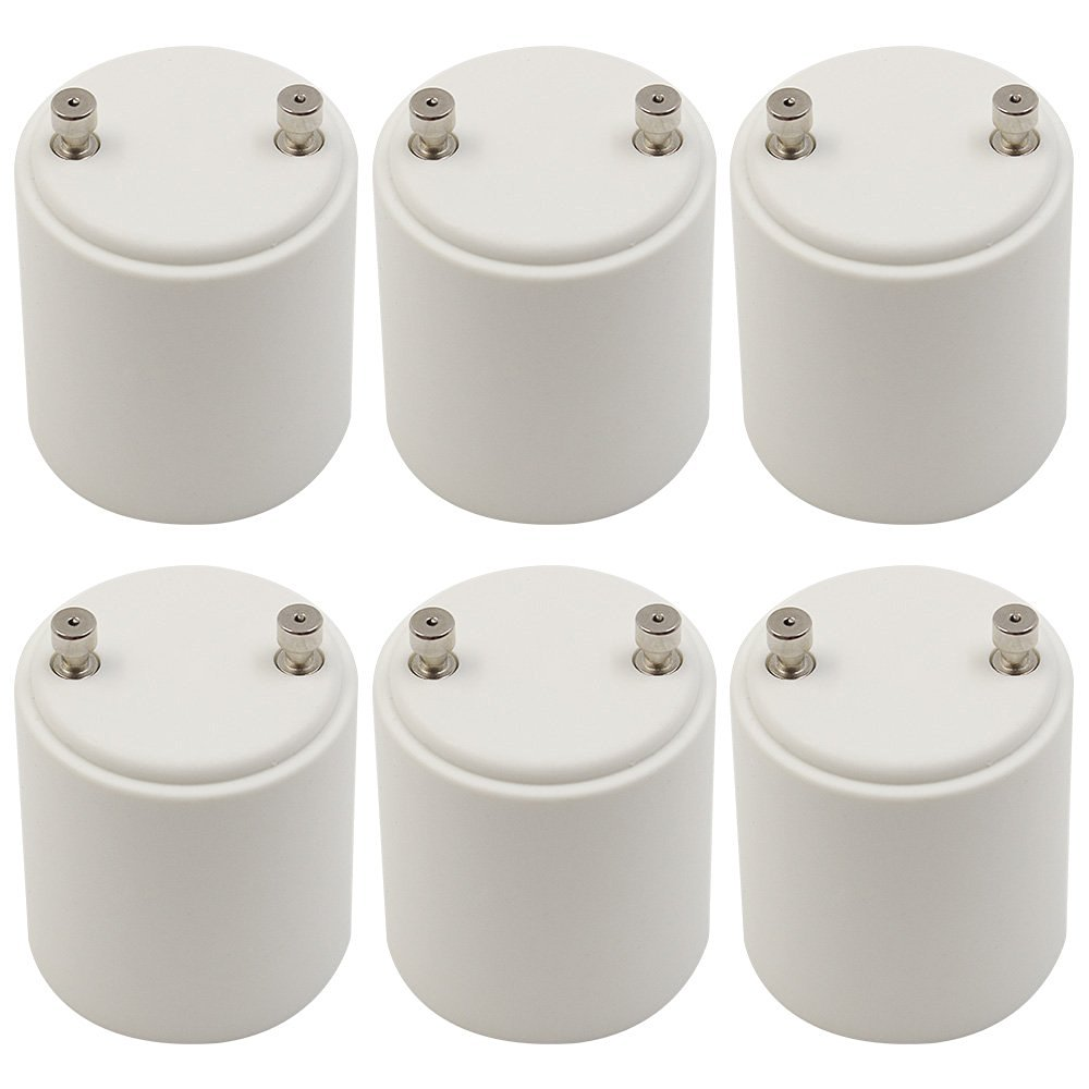 TORCHSTAR 6pcs GU24 to E26/E27 Adapter, Fits Halogen/LED/CFL Light Bulbs, Heat-resistant, Anti-burning, No Fire Hazard