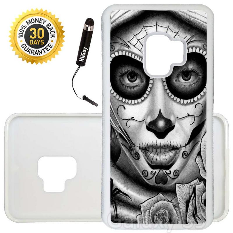 Custom Galaxy S9 Case (Day of the Dead Art) Edge-to-Edge Rubber White Cover Ultra Slim | Lightweight | Includes Stylus Pen by Innosub