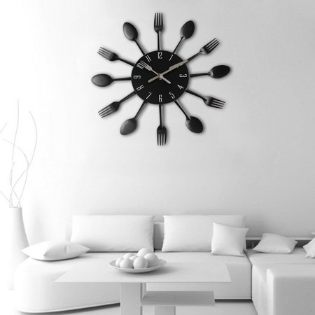 Modern Design Sliver Cutlery Kitchen Utensil Wall Clock Spoon Fork Clock ()