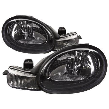 2001-2002 Dodge Neon Black Bezel Headlights Set Left Right Assembly Halogen Headlamp Pair CH2502127 & CH2503127 Dodge Neon Headlamp Assembly