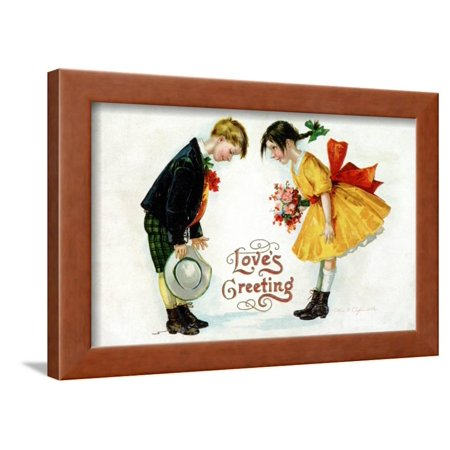 Love's Greeting Postcard by Ellen H. Clapsaddle Framed Print Wall Art By David Pollack - Ellen Clapsaddle Halloween Postcards