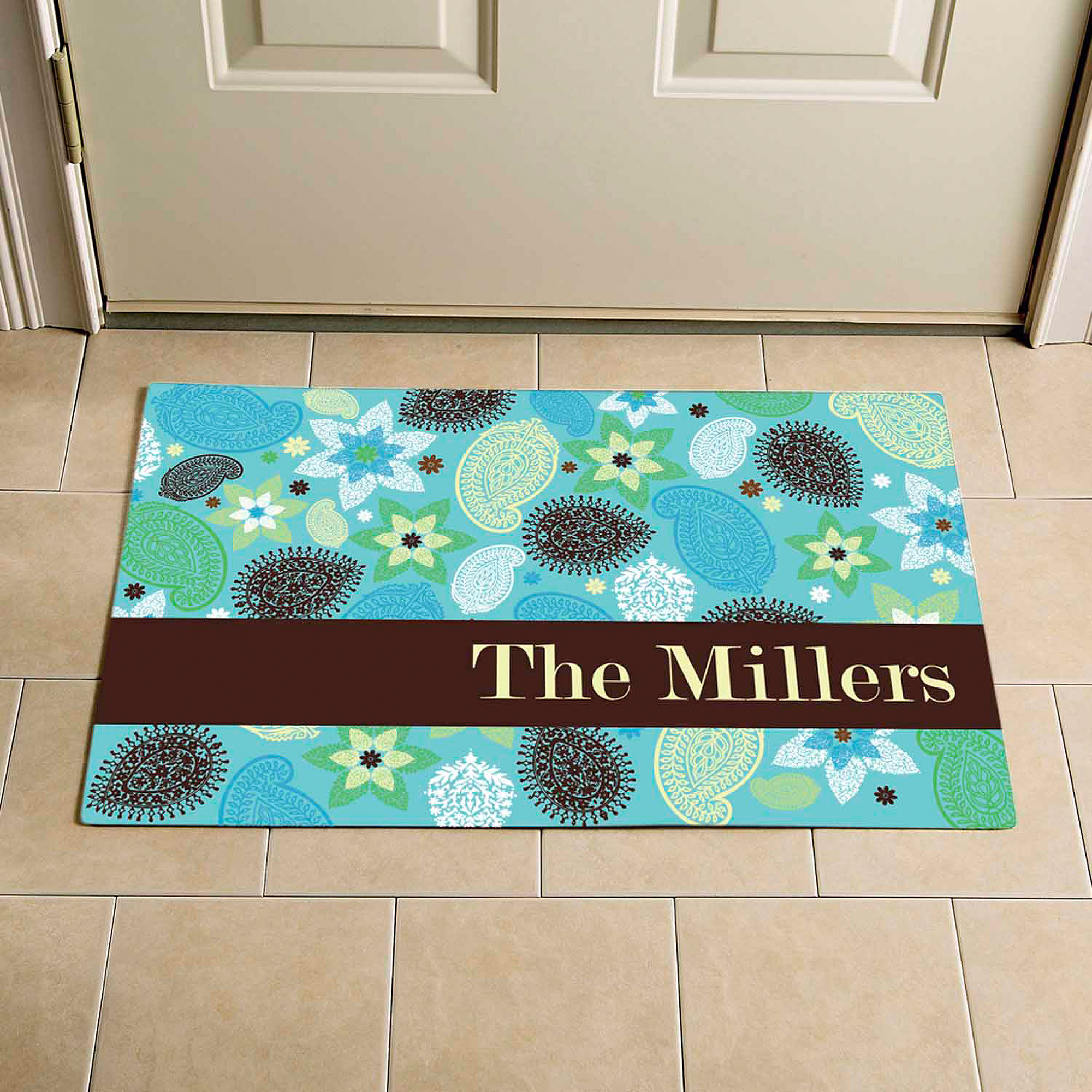 "Personalized Paisley Doormat, 24"" x 36"""