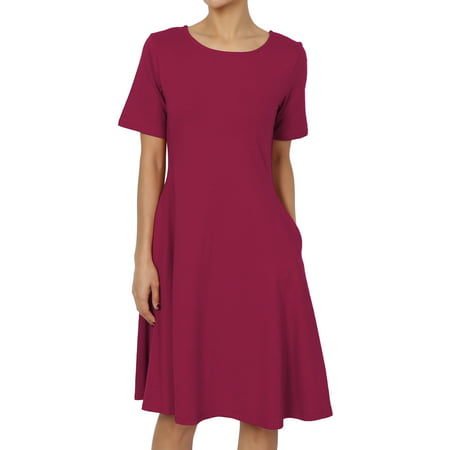 - TheMogan Women's S~3X Short Sleeve Stretch Cotton Jersey Fit and Flare Dress W Pocket